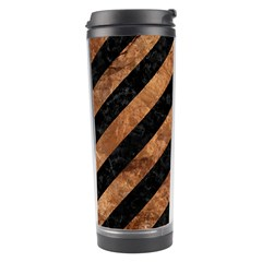 Stripes3 Black Marble & Brown Stone Travel Tumbler by trendistuff