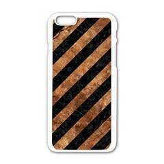 Stripes3 Black Marble & Brown Stone Apple Iphone 6/6s White Enamel Case by trendistuff