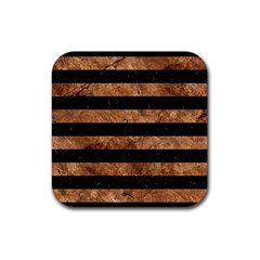 Stripes2 Black Marble & Brown Stone Rubber Square Coaster (4 Pack) by trendistuff