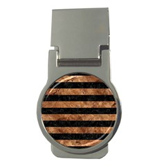Stripes2 Black Marble & Brown Stone Money Clip (round) by trendistuff