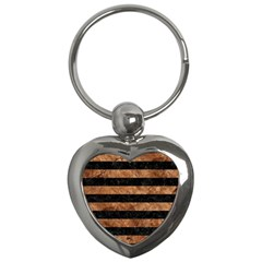 Stripes2 Black Marble & Brown Stone Key Chain (heart) by trendistuff