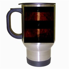 Stripes2 Black Marble & Brown Stone Travel Mug (silver Gray) by trendistuff