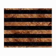 Stripes2 Black Marble & Brown Stone Small Glasses Cloth by trendistuff