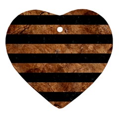 Stripes2 Black Marble & Brown Stone Heart Ornament (two Sides) by trendistuff