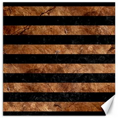 Stripes2 Black Marble & Brown Stone Canvas 12  X 12  by trendistuff