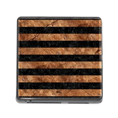 Stripes2 Black Marble & Brown Stone Memory Card Reader (square) by trendistuff
