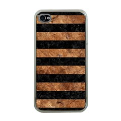 Stripes2 Black Marble & Brown Stone Apple Iphone 4 Case (clear) by trendistuff