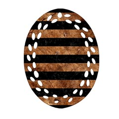 Stripes2 Black Marble & Brown Stone Oval Filigree Ornament (two Sides) by trendistuff
