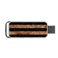 Stripes2 Black Marble & Brown Stone Portable Usb Flash (two Sides) by trendistuff