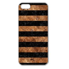 Stripes2 Black Marble & Brown Stone Apple Seamless Iphone 5 Case (clear) by trendistuff