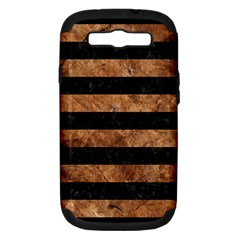 Stripes2 Black Marble & Brown Stone Samsung Galaxy S Iii Hardshell Case (pc+silicone) by trendistuff