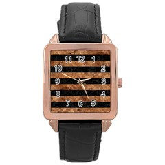 Stripes2 Black Marble & Brown Stone Rose Gold Leather Watch  by trendistuff