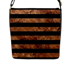 Stripes2 Black Marble & Brown Stone Flap Closure Messenger Bag (l) by trendistuff