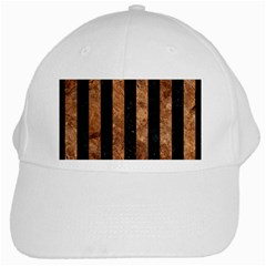 Stripes1 Black Marble & Brown Stone White Cap by trendistuff