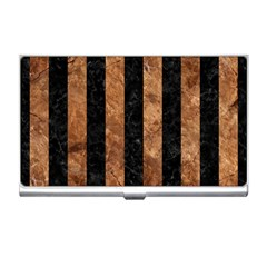 Stripes1 Black Marble & Brown Stone Business Card Holder by trendistuff