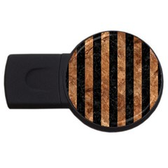 Stripes1 Black Marble & Brown Stone Usb Flash Drive Round (2 Gb) by trendistuff