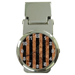 Stripes1 Black Marble & Brown Stone Money Clip Watch by trendistuff