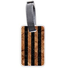 Stripes1 Black Marble & Brown Stone Luggage Tag (one Side) by trendistuff