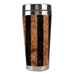 Stripes1 Black Marble & Brown Stone Stainless Steel Travel Tumbler by trendistuff