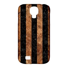 Stripes1 Black Marble & Brown Stone Samsung Galaxy S4 Classic Hardshell Case (pc+silicone)