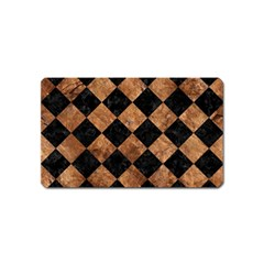 Square2 Black Marble & Brown Stone Magnet (name Card) by trendistuff