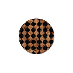 Square2 Black Marble & Brown Stone Golf Ball Marker by trendistuff