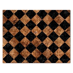 Square2 Black Marble & Brown Stone Jigsaw Puzzle (rectangular) by trendistuff