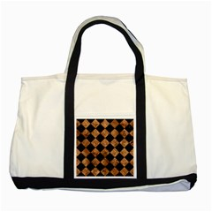 Square2 Black Marble & Brown Stone Two Tone Tote Bag by trendistuff