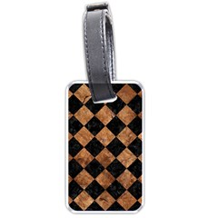 Square2 Black Marble & Brown Stone Luggage Tag (two Sides) by trendistuff