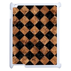 Square2 Black Marble & Brown Stone Apple Ipad 2 Case (white) by trendistuff