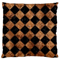 Square2 Black Marble & Brown Stone Large Cushion Case (two Sides)