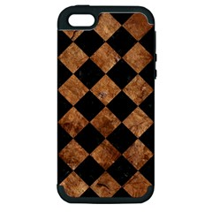 Square2 Black Marble & Brown Stone Apple Iphone 5 Hardshell Case (pc+silicone) by trendistuff