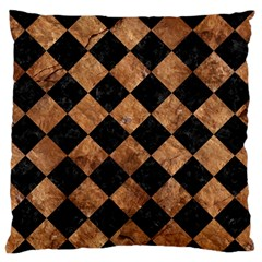 Square2 Black Marble & Brown Stone Large Flano Cushion Case (one Side) by trendistuff