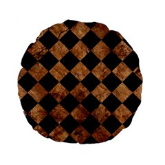Square2 Black Marble & Brown Stone Standard 15  Premium Flano Round Cushion  by trendistuff