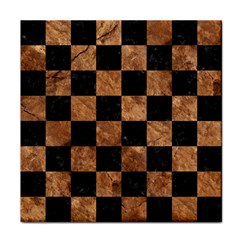 Square1 Black Marble & Brown Stone Tile Coaster by trendistuff