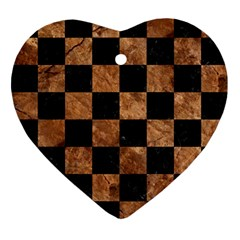 Square1 Black Marble & Brown Stone Ornament (heart) by trendistuff