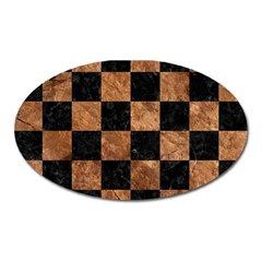 Square1 Black Marble & Brown Stone Magnet (oval) by trendistuff