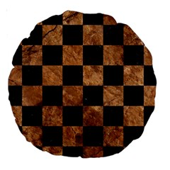 Square1 Black Marble & Brown Stone Large 18  Premium Round Cushion  by trendistuff