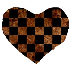 Square1 Black Marble & Brown Stone Large 19  Premium Heart Shape Cushion by trendistuff
