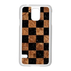 Square1 Black Marble & Brown Stone Samsung Galaxy S5 Case (white) by trendistuff