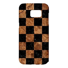 Square1 Black Marble & Brown Stone Samsung Galaxy S7 Edge Hardshell Case by trendistuff