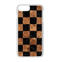 Square1 Black Marble & Brown Stone Apple Iphone 7 Plus White Seamless Case by trendistuff