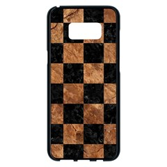 Square1 Black Marble & Brown Stone Samsung Galaxy S8 Plus Black Seamless Case