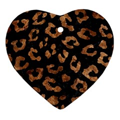 Skin5 Black Marble & Brown Stone (r) Heart Ornament (two Sides) by trendistuff
