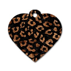 Skin5 Black Marble & Brown Stone (r) Dog Tag Heart (two Sides) by trendistuff