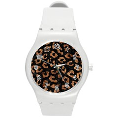 Skin5 Black Marble & Brown Stone (r) Round Plastic Sport Watch (m) by trendistuff
