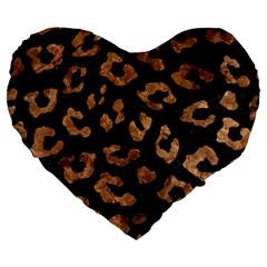 Skin5 Black Marble & Brown Stone (r) Large 19  Premium Heart Shape Cushion by trendistuff