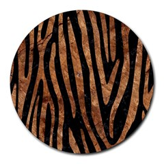 Skin4 Black Marble & Brown Stone (r) Round Mousepad by trendistuff