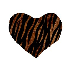 Skin3 Black Marble & Brown Stone Standard 16  Premium Flano Heart Shape Cushion  by trendistuff