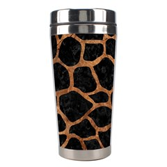 Skin1 Black Marble & Brown Stone (r) Stainless Steel Travel Tumbler by trendistuff